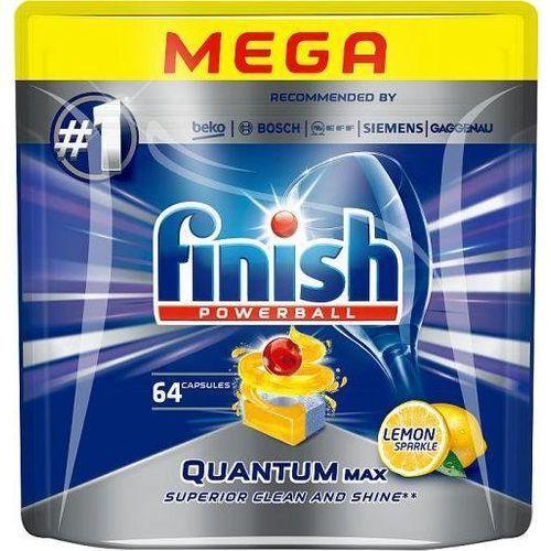 Kostki do zmywarek, FINISH Powerball Quantum Max tabletki do mycia naczyń w zmywarkach Lemon Sparkle 64szt