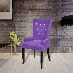 vidaXL Fotel jadalniany, tapicerowany, drewniana rama i fioletowy aksamit Darmowa wysyłka i zwroty