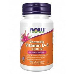 NOW Foods Witamina D-3, 1000 IU - 180 tabletek do żucia