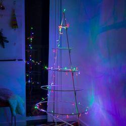 Łańcuch LED Mini kolor, 100-pkt., kabel przezrocz.