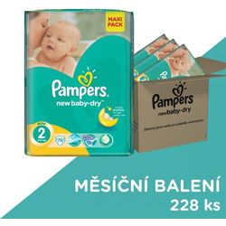 Pampers New Baby Pieluchy rozmiar 2 Mini 228 sztuk zapas na miesiąc