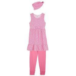Sukienka dziewczęca + legginsy 3/4 + opaska (3 części) bonprix jasnoróżowy + matowy różowy