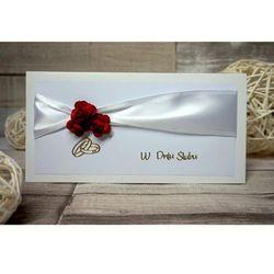Kartka Ślubna Trzy czerwone różyczki na wstążce