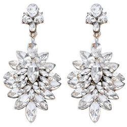 Kolczyki ślubne wiszące kryształy długie srebrne