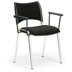 Krzesła konferencyjne SMART - chromowane nogi, z podłokietnikami, czarny
