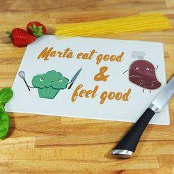 Eat good & feel good - deska do krojenia - Deska szklana 25 na 20 cm