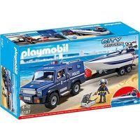Klocki dla dzieci, Playmobil, Pojazd terenowy policji z motorówką, 5187