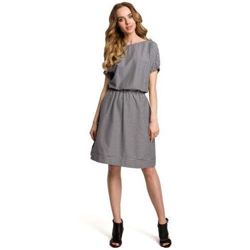Suknie i sukienki, Czarna Casualowa Sukienka w Drobną Krateczkę