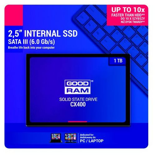 "Dyski do notebooków, Dysk SSD 1 TB GoodRam CX400 SSDPR-CX400-O1T 2.5"" SATA III"