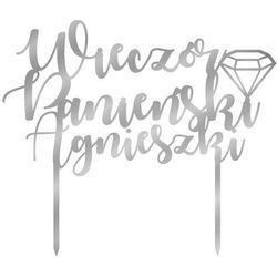 Topper z lustrzanej pleksi srebrny na tort Wieczór Panieński personalizowany - 20 cm