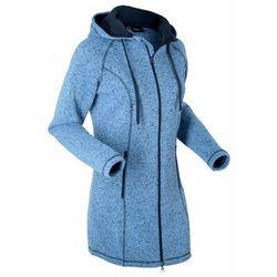 Długa bluza rozpinana z polaru bonprix niebiesko-ciemnoniebieski melanż