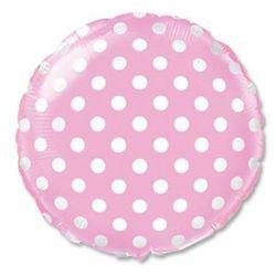 Balon foliowy okrągły różowy w kropki - 46 cm - 1 szt.
