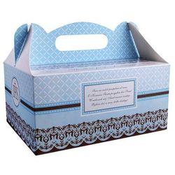 Ozdobne pudełko na ciasto komunijne - niebieskie - 1 szt.