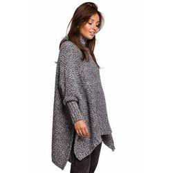 BK049 Sweter ponczo z rękawami i golfem - antracytowy