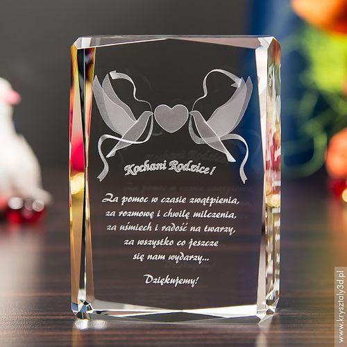 Podziękowania dla rodziców i gości, Pamiątka Ślubu Gołąbki Miłości 3D średnia stautetka • GRAWER 3D