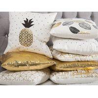 Poduszki, Poduszka dekoracyjna ananas bawełniana czarna/złota 45 x 45 cm