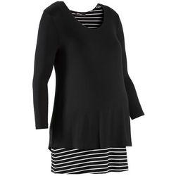 Shirt ciążowy, rękawy 3/4 bonprix czarno-biały w paski
