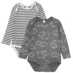 Body niemowlęce z długim rękawem (2 szt.), bawełna organiczna bonprix dymny szary - kremowy