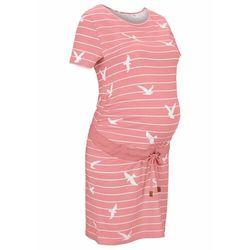 Sukienka ciążowa z bawełny organicznej bonprix dymny jasnoróżowy - biały w paski
