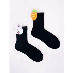 Skarpety dziewczęce czarne z aplikacją 3D króliczek marchewka 31-34
