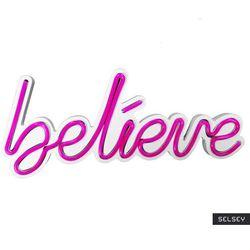 SELSEY Neon na ścianę Letely z napisem Believe różowy