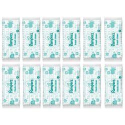 Zestaw 12 x PAMPERS Baby Fresh Clean 64szt Chusteczki nawilżane dla dzieci i niemowląt
