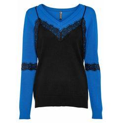 Kamizelka z koronką bonprix czarno-lazurowy niebieski