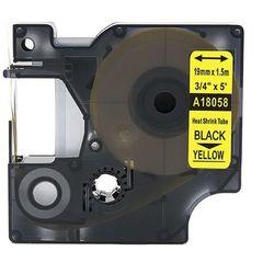 Rurka termokurczliwa DYMO Rhino 18058 19mm x 1.5m ø 4.6mm-8.7mm żółta czarny nadruk S0718340 - zamiennik   OSZCZĘDZAJ DO 80% -