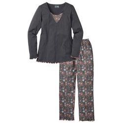 Piżama bonprix szary z nadrukiem