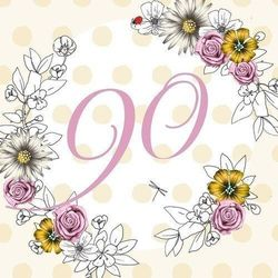 Karnet Swarovski kwadrat Urodziny 90 kwiaty