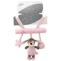 Zabawki do wózka, Zawieszka z dźwiękiem New Baby Piesek różowy 22 cm