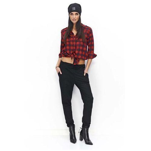 Spodnie damskie, Czarne Spodnie Dresowe Luźne z Kieszeniami