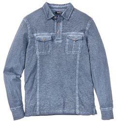 Shirt polo z długim rękawem, z efektem wytarcia bonprix ciemnoniebieski