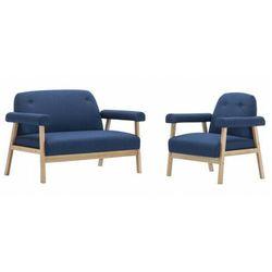 Niebieski 3-osobowy zestaw wypoczynkowy w stylu vintage - Eureka 4X