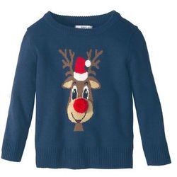 Bożonarodzeniowy sweter dzianinowy bonprix ciemnoniebieski