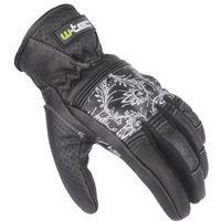 Rękawice motocyklowe, Damskie skórzane rękawice motocyklowe W-TEC Polcique NF-4206, Czarno-biały, XL