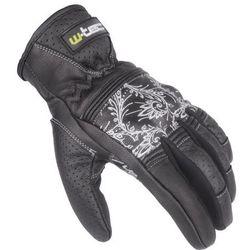 Damskie skórzane rękawice motocyklowe W-TEC Polcique NF-4206, Czarno-biały, XL