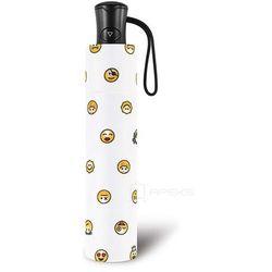 Happy Rain Essentials Emoticon składany damski parasol automatyczny Mini AC - biały