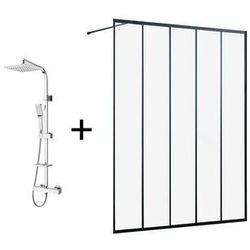 Zestaw łazienkowy złożony z 2 produktów: Ścianka ATALIA 140 cm + Kolumna prysznicowa z termostatem SALIMA z chromowanej stali nierdzewnej