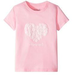 Shirt z koronkowym nadrukiem bonprix jasnoróżowy pudrowy