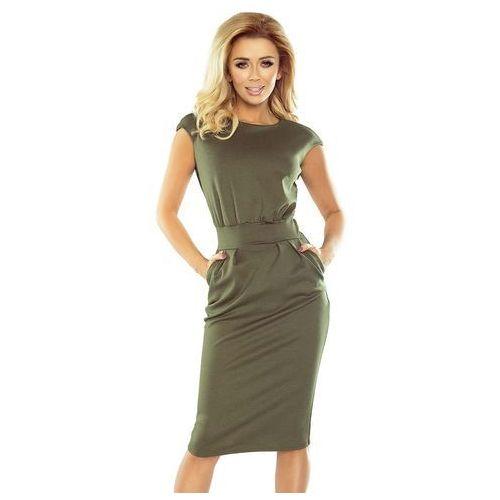 Suknie i sukienki, Khaki Sukienka Elegancka Midi z Zaznaczoną Talią