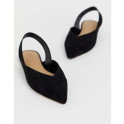 ASOS DESIGN Leisure high vamp slingback ballet flats in black - Black