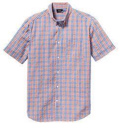 Koszula z kory z krótkim rękawem Regular Fit bonprix pomarańczowo-niebieski w kratę