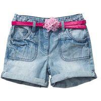 Krótkie spodenki dziecięce, Spodenki dżinsowe z paskiem bonprix jasnoniebieski