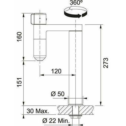 Baterie do kuchni, Bateria Franke Vital 120.0551.216