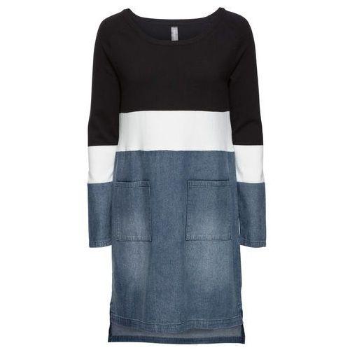 """Suknie i sukienki, Sukienka w połączeniu odmiennych materiałów bonprix czarno-biel wełny - niebieski """"stone"""""""