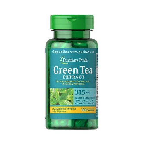 Detox i oczyszanie organizmu, Puritan's Pride Zielona Herbata Ekstrakt 315mg 100 kaps.