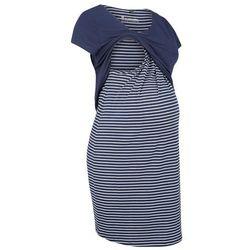 Sukienka ciążowa i do karmienia bonprix ciemnoniebiesko-biały w paski