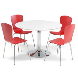 Zestaw mebli do stołówki, stół Ø1100 mm, biały, chrom + 4 czerwone krzesła