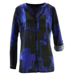 Długa bluzka z nadrukiem bonprix szafirowo-czarny
